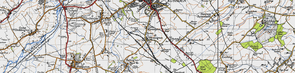 Old map of Wymington in 1946