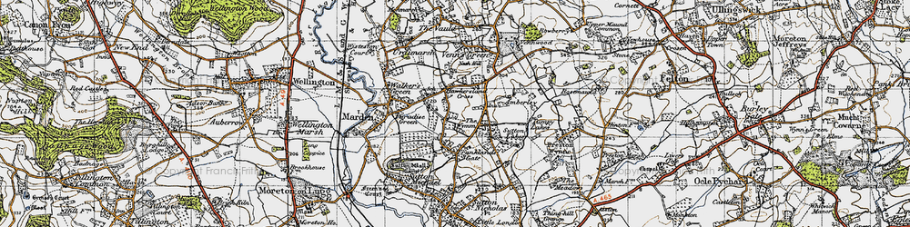 Old map of Wymm, The in 1947