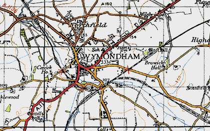 Old map of Wymondham in 1946