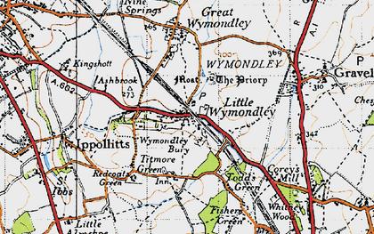Old map of Wymondley Bury in 1946