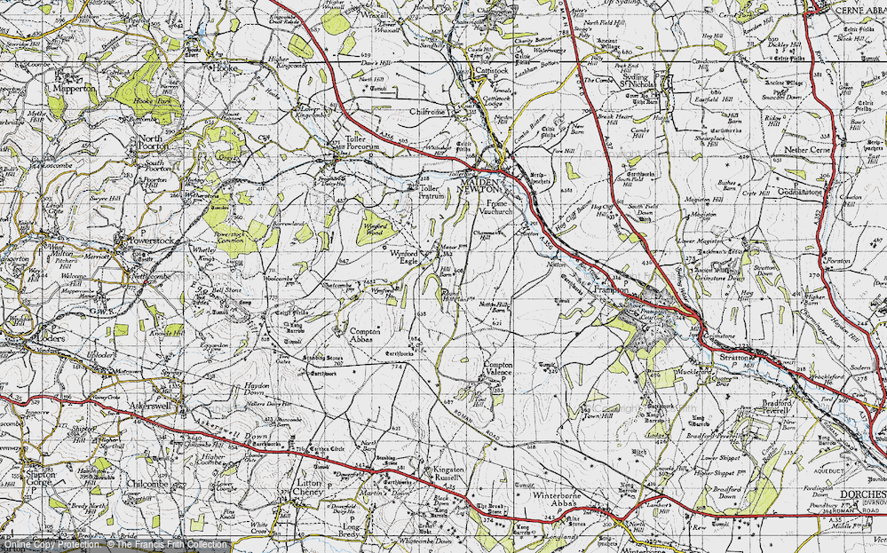 Old Map of Historic Map covering Wynford Ho in 1945
