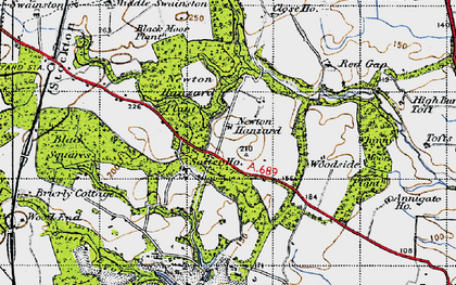 Old map of Whinny Moor Plantn in 1947
