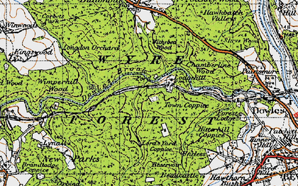 Old map of Wimperhill Wood in 1947