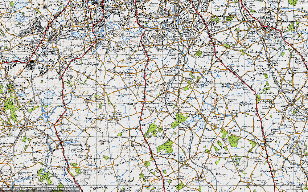 Old Map of Wythall, 1947 in 1947