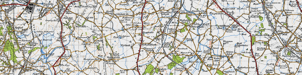 Old map of Wythall in 1947