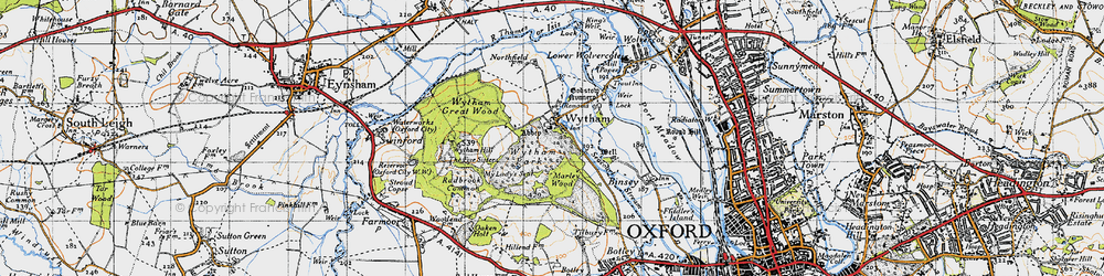 Old map of Wytham in 1946