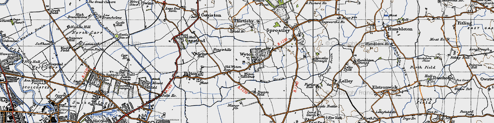 Old map of Wyton in 1947