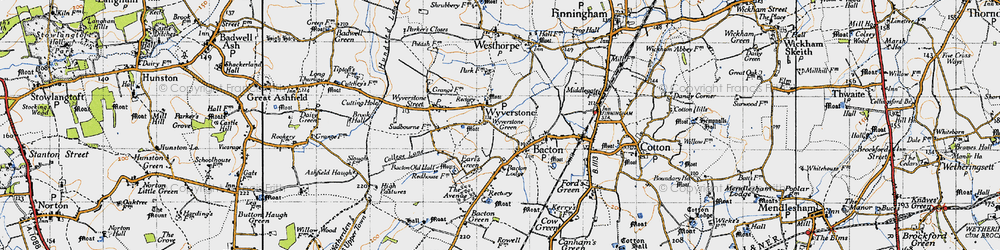 Old map of Wyverstone in 1946