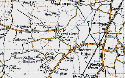 Old map of Wyverstone Green in 1946