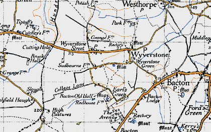 Old map of Wyverstone Street in 1946