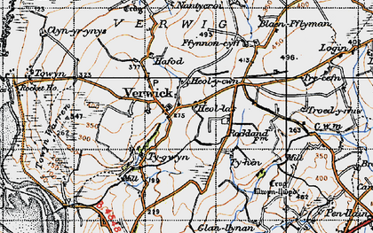 Old map of Y Ferwig in 1947