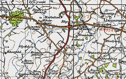 Old map of Afon Erch in 1947