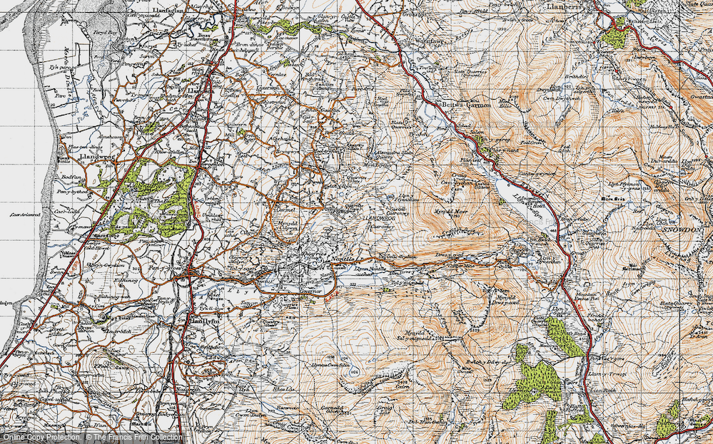 Old Map of Historic Map covering Afon Drws-y-coed in 1947