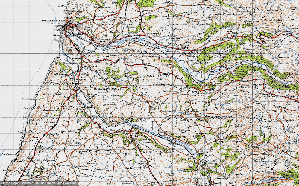 Old Map of Historic Map covering Gilfach goch in 1947