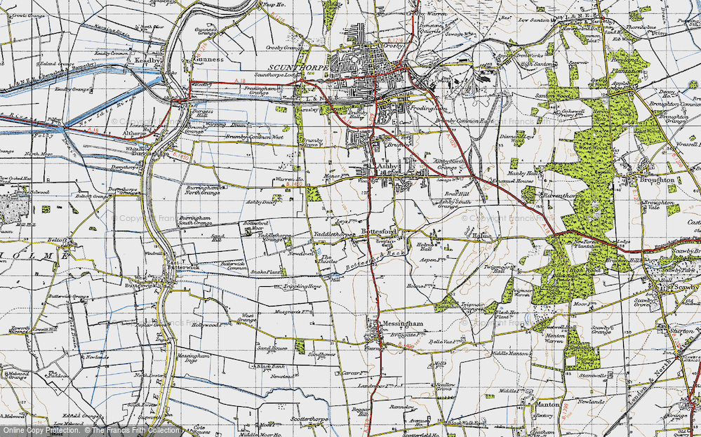 Old Map of Historic Map covering Ashby Decoy in 1947