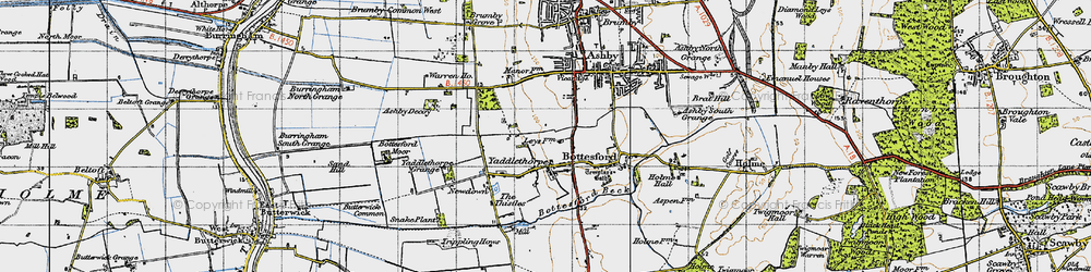 Old map of Yaddlethorpe in 1947