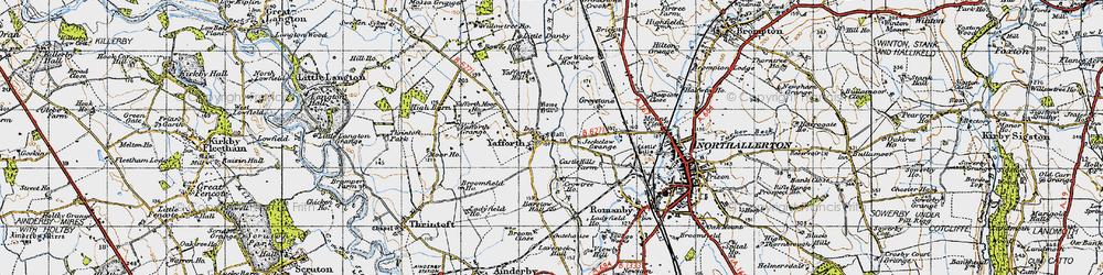Old map of Yafforth Moor Ho in 1947