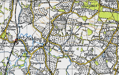 Old map of Yalding in 1940