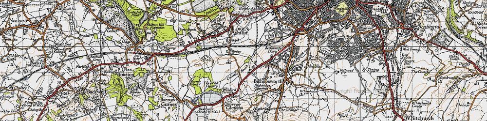 Old map of Yanley in 1946