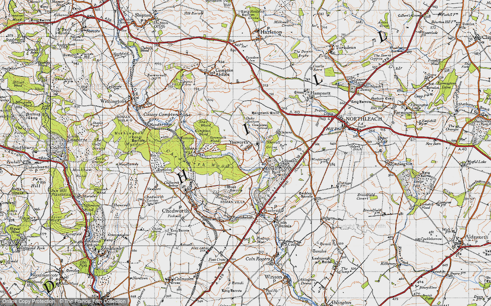 Old Map of Yanworth, 1946 in 1946