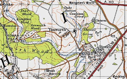 Old map of Yanworth in 1946