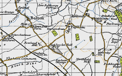 Old map of Yapham Common in 1947