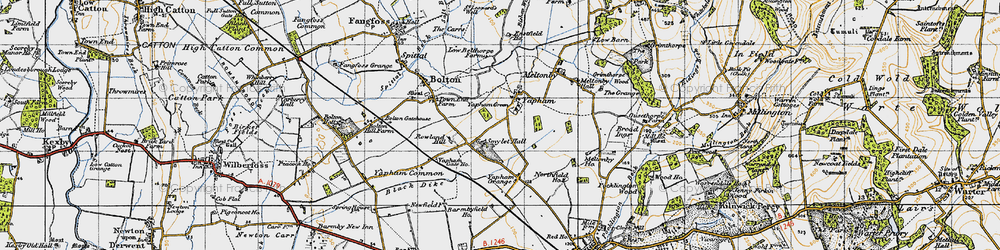 Old map of Yapham in 1947