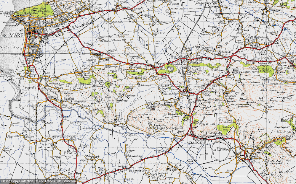 Old Map of Historic Map covering Banwell Hill in 1946