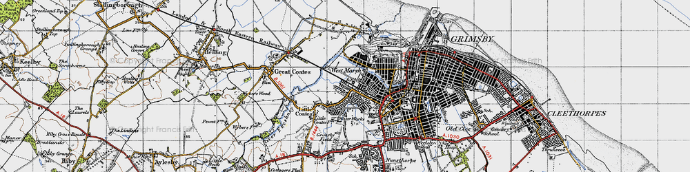Old map of Yarborough in 1946