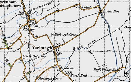 Old map of Yarburgh Grange in 1946