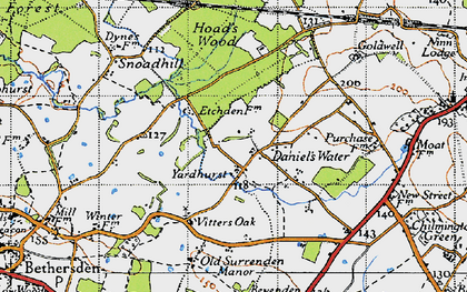 Old map of Yardhurst in 1940