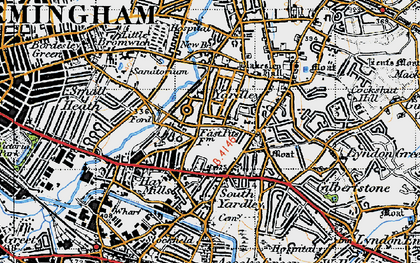 Old map of Yardley in 1947