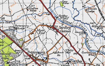 Old map of Yardley Gobion in 1946