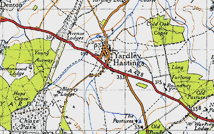 Old map of Yardley Chase in 1946