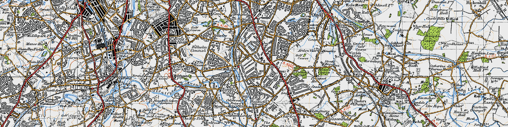 Old map of Yardley Wood in 1947