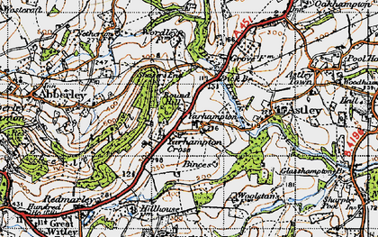 Old map of Abberley Hill in 1947