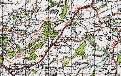 Old map of Yarhampton Cross in 1947