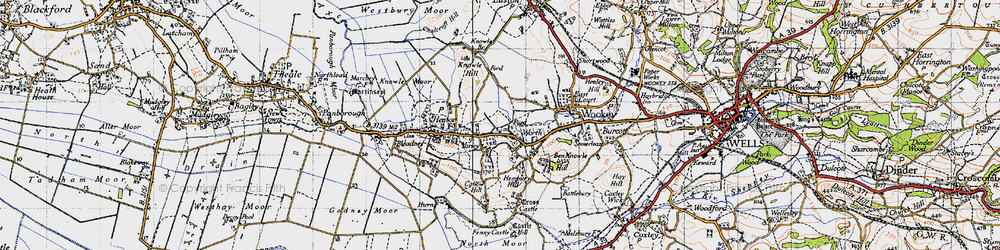 Old map of Yarley in 1946
