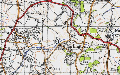 Old map of Yarlington in 1945