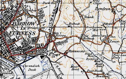 Old map of Yarlside in 1947
