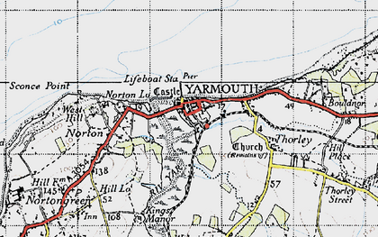 Old map of Yarmouth in 1945