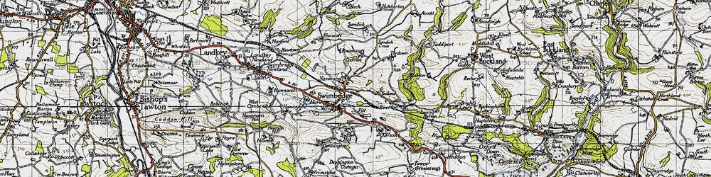 Old map of Yarnacott in 1946