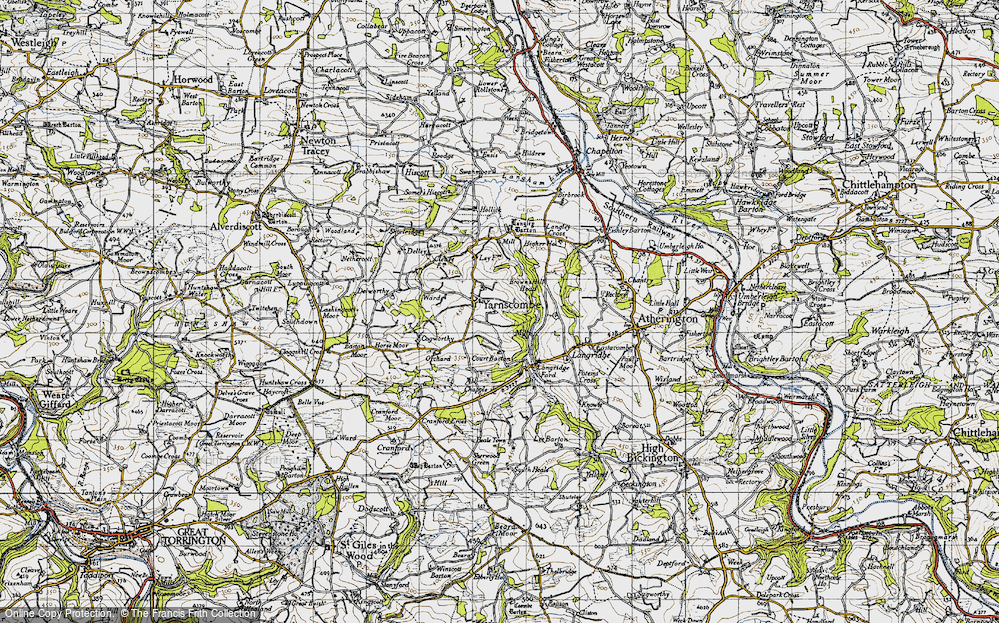 Old Map of Historic Map covering Langley Barton in 1946