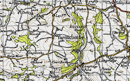 Old map of Yarnscombe in 1946
