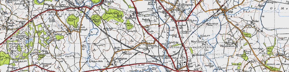 Old map of Yarnton in 1946