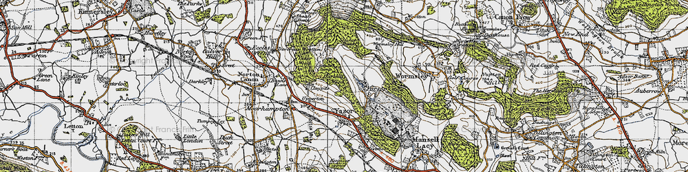 Old map of Wormsley Hill in 1947