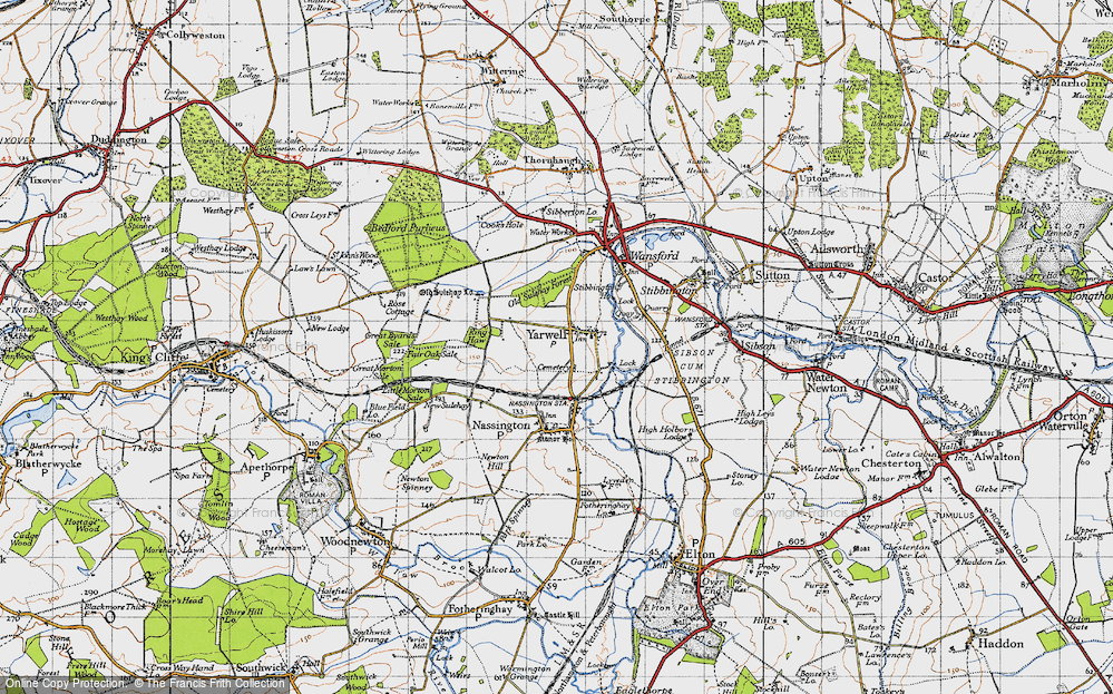 Old Map of Yarwell, 1946 in 1946