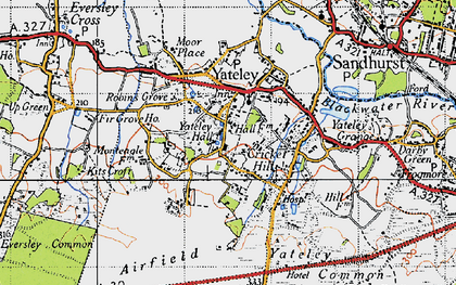 Old map of Yateley Green in 1940