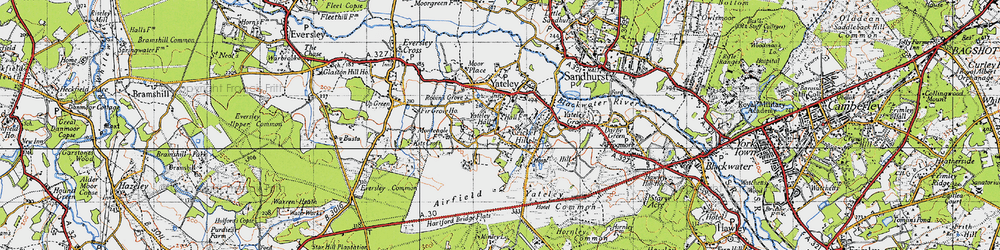 Old map of Yateley in 1940