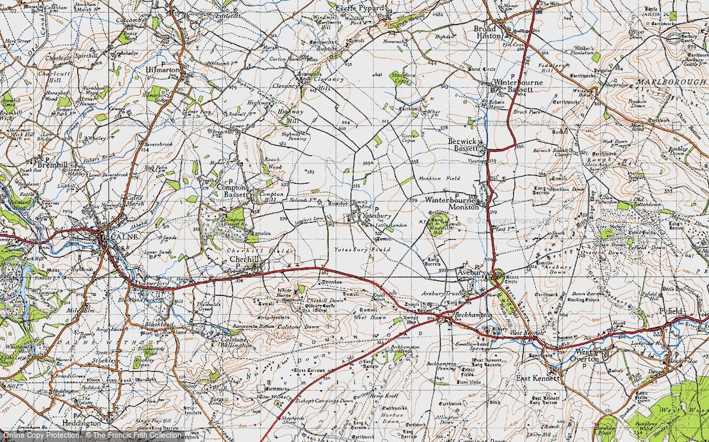 Old Map of Yatesbury, 1940 in 1940
